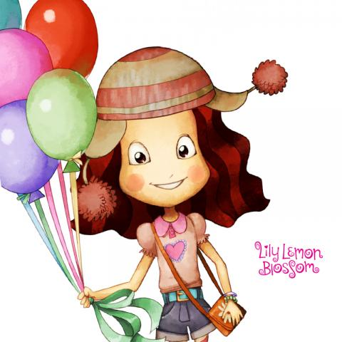 Lily Lemon Blossom Balloon Paper Doll